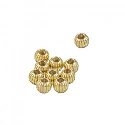 Gold Filled Corrugated Round Small Spacer Bead 4mm PK10