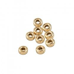 Gold Filled 4mm Smooth Round Donut Spacer Beads (PK10)