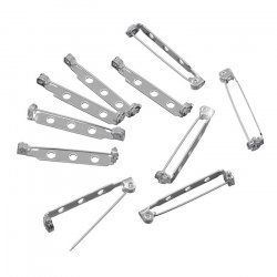 Silver Plated 32mm Bar Brooch With 3 Holes (Pack of 10)