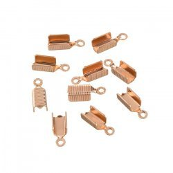 Rose Gold Plated Fold Over Cord End Tips 13x5mm - PK10