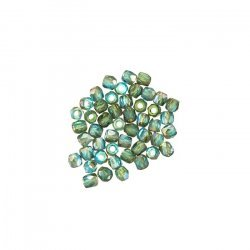 2mm Czech Fire Polished True2™ Beads Aqua Celsian PK50