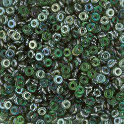 3.8x1mm O Bead® Czech Glass Beads Emerald Celsian 8.1g