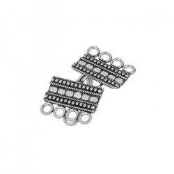 Antique Silver Plated 4-Strand Rectangle Clasp 21mm PK1