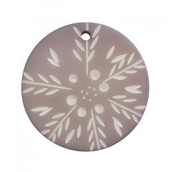 Acrylic Resin Lilac Snowflake Disk Shaped Pendant 42mm