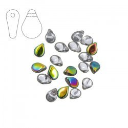 Preciosa Czech Glass Pip™ Bead 7mm Crystal Vitrail PK20