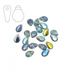 Czech Preciosa Pip™ Beads 7mm Crystal Blue Rainbow PK20