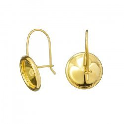 24K Gold Plated 10mm 1122 Rivoli Setting Kidney Earwires