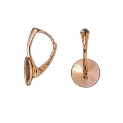 18K Rose Gold Plated 10mm 1122 Rivoli Lever Back Earwires