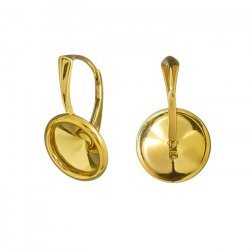 10mm Rivoli Setting Lever Back Earwires 24K Gold Plated