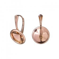10mm Rivoli Lever Back Ear Wires 18K Rose Gold Plated