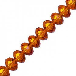 "Faceted Orange Crystal Rondelle Beads 10x14mm 8"" Strand"