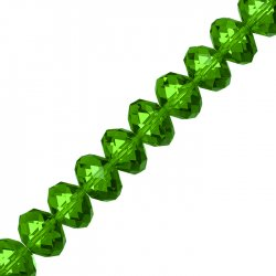 Faceted Green Crystal Rondelle Beads 10x14mm 8