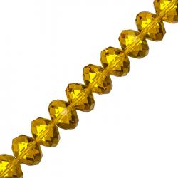 "Faceted Amber Crystal Rondelle Beads 10x14mm 8"" Strand"