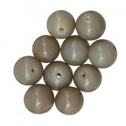 Shiny Grey 10mm Handmade Round Plain Glass Beads (PK10)