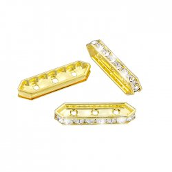 Swarovski Rondelle Bar 19x5mm Gold Plated Crystal F PK3