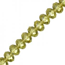 Faceted Yellow Crystal Rondelle Beads 10x14mm 8