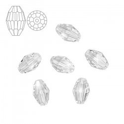 Swarovski 5200 Faceted Oval Beads Crystal 7.5x5mm - PK6