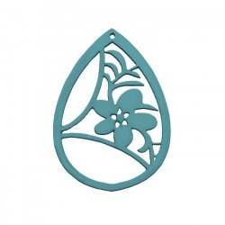 Carved Wood Flower Teardrop Pendant Teal 38x52mm (PK1)