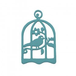 Hand Carved Wood Bird in Cage Pendant Teal 32x50mm PK1