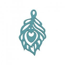 Hand Carved Wood Cut Out Leaf Pendant Teal 51x30mm PK1