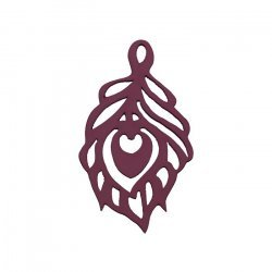 Maroon Carved Wood Cut Out Leaf Pendant (51x30mm) - PK1