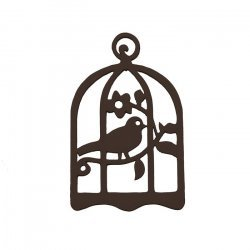 Black Hand Carved Wood Bird Cage Pendant 32x50mm - PK1