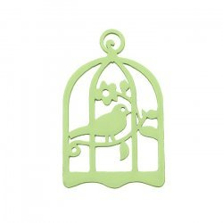 Green Hand Carved Wood Bird in Cage Pendant 32x50mm PK1