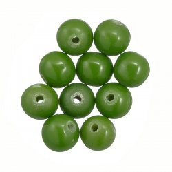 10mm Round Shiny Acrylic Beads Opaque Green (PK10)