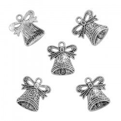 Antique Silver Plated Bell Pendant Charms 17x19mm PK5