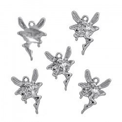 Tibetan Fairy Pendant Charms 22x15mm Antique Silver PK5