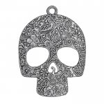 Day of the Dead Sugar Skull Pendant Antique Silver 66mm