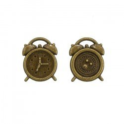 Small Alarm Clock Charms (17x13mm) Antique Bronze PK2