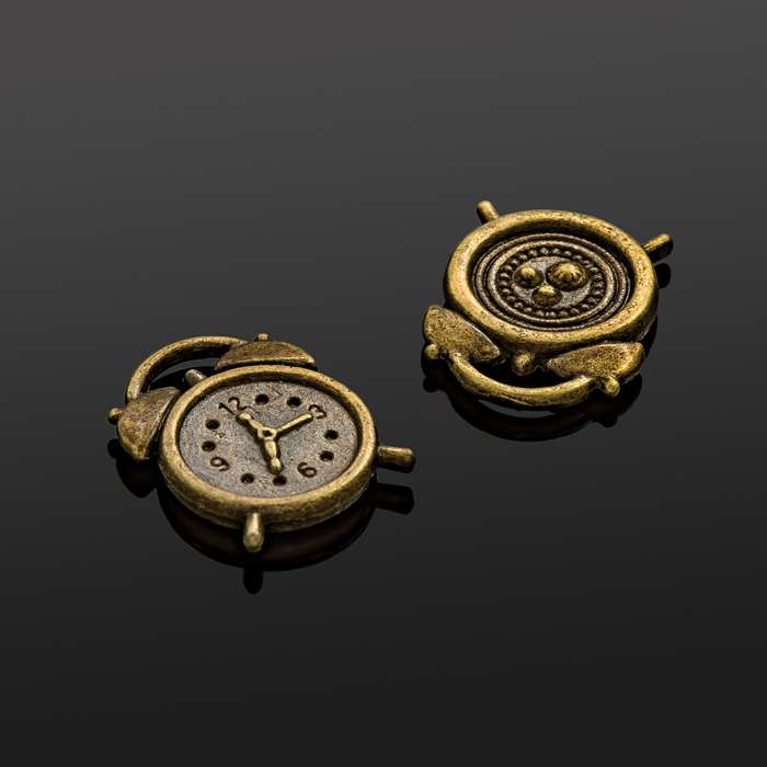 Small Alarm Clock Charms Antique Bronze Pack of 2 N75//2 17x13mm