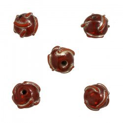 Transparent Red Patterned Lampwork Glass Beads 12mm PK5
