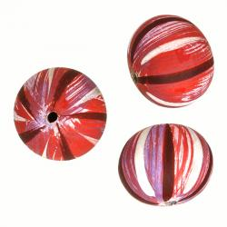 Hand Painted Striped Wooden Melon Beads Pink 25mm PK3