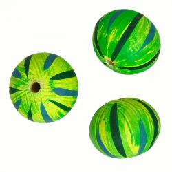 Hand Painted Green Striped Wooden Melon Beads 25mm PK3