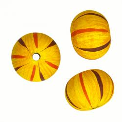 Hand Painted Yellow Striped Wooden Melon Beads 25mm PK3