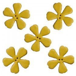 Yellow Leather Flower Die Cut 2 Hole Charms 25mm (PK5)