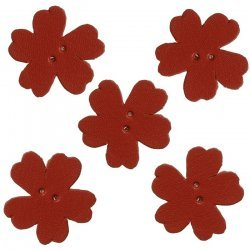 Red Flat Leather Flower Die Cut 2 Hole Charms 25mm PK5