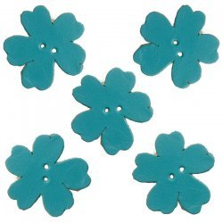 Turquoise Leather Flower Die Cut 2 Hole Charms 25mm PK5