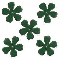 Green Leather Flower Die Cut 2 Hole Charms 25mm (PK5)