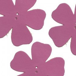 Large Pink Leather Flower Die Cut 2 Hole Charm 55mm PK3