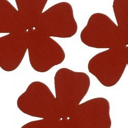 Large Red Leather Flower Die Cut 2 Hole Charms 55mm PK3