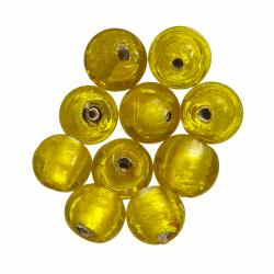 Round 10mm Silver Lined Glass Beads Trans. Yellow PK10