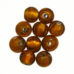Silver Lined 10mm Round Glass Beads Amber/Brown (PK10)