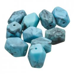Turquoise Blue Twisted Faceted Acrylic Beads 20mm PK10