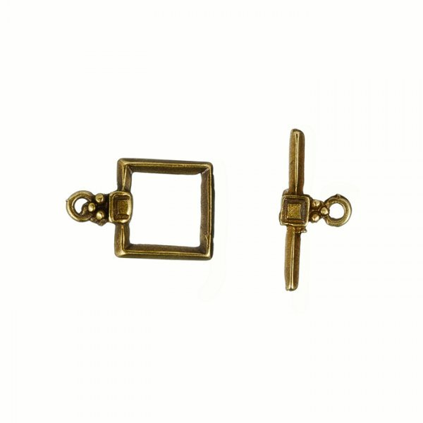Square Antique Brass Metal Jewellery Toggle Clasp 17mm
