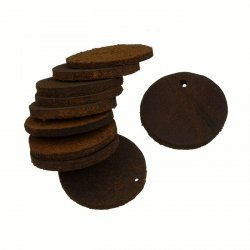 Brown Leather Round Tag Charm/Pendant Backing 25mm PK10