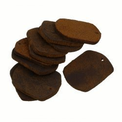 Brown Leather Rectangle Tag Charm/Backings 29x22mm PK10