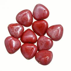 Shiny Ruby Red Luster Glass Heart Shape Beads 13mm PK10